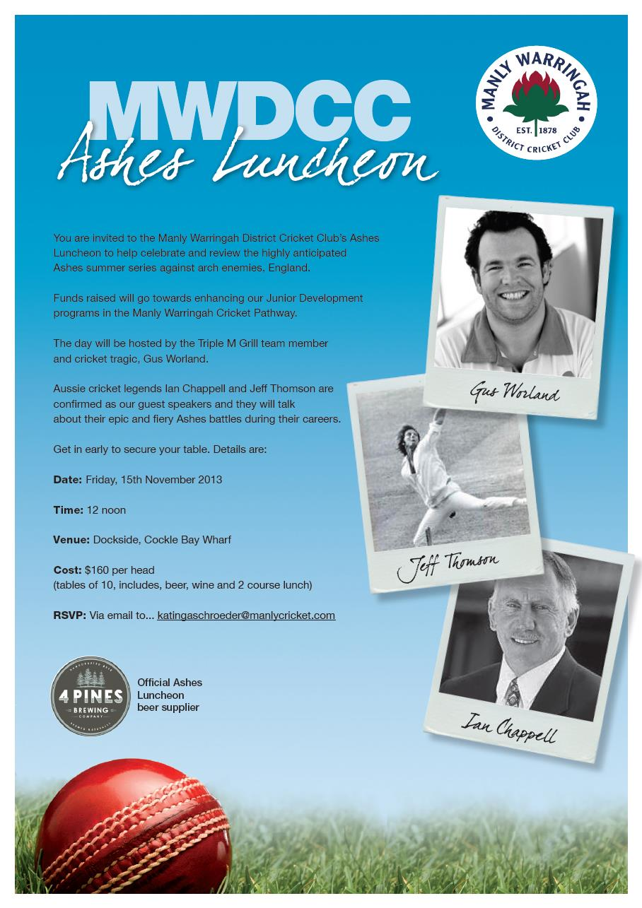 MWDCC Ashes Lunch Invitation 2013