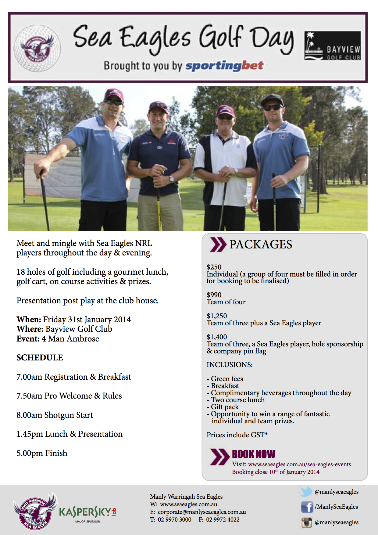 Sea Eagles Golf Day Flyer