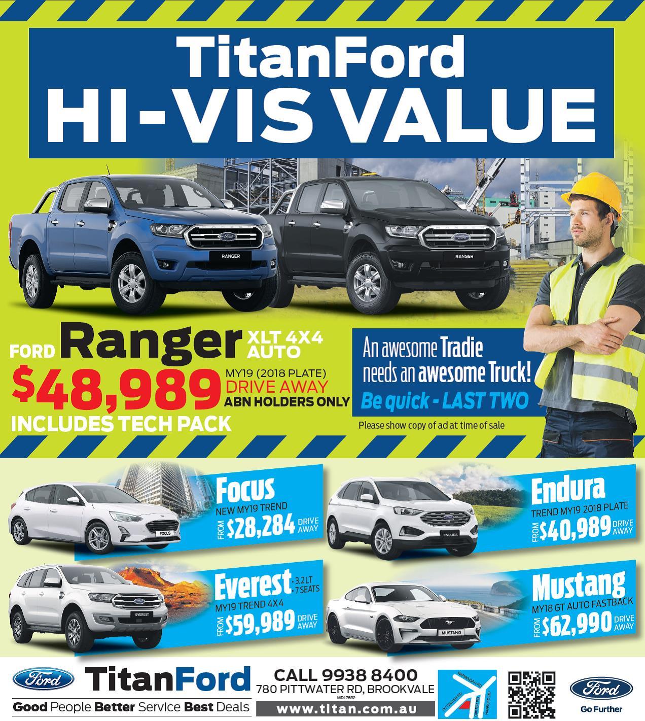 Get Down to Titan Ford Brookvale for 'HI-VIS Value' - Manly