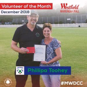 Philippa Toohey Volunteer Of The Month award