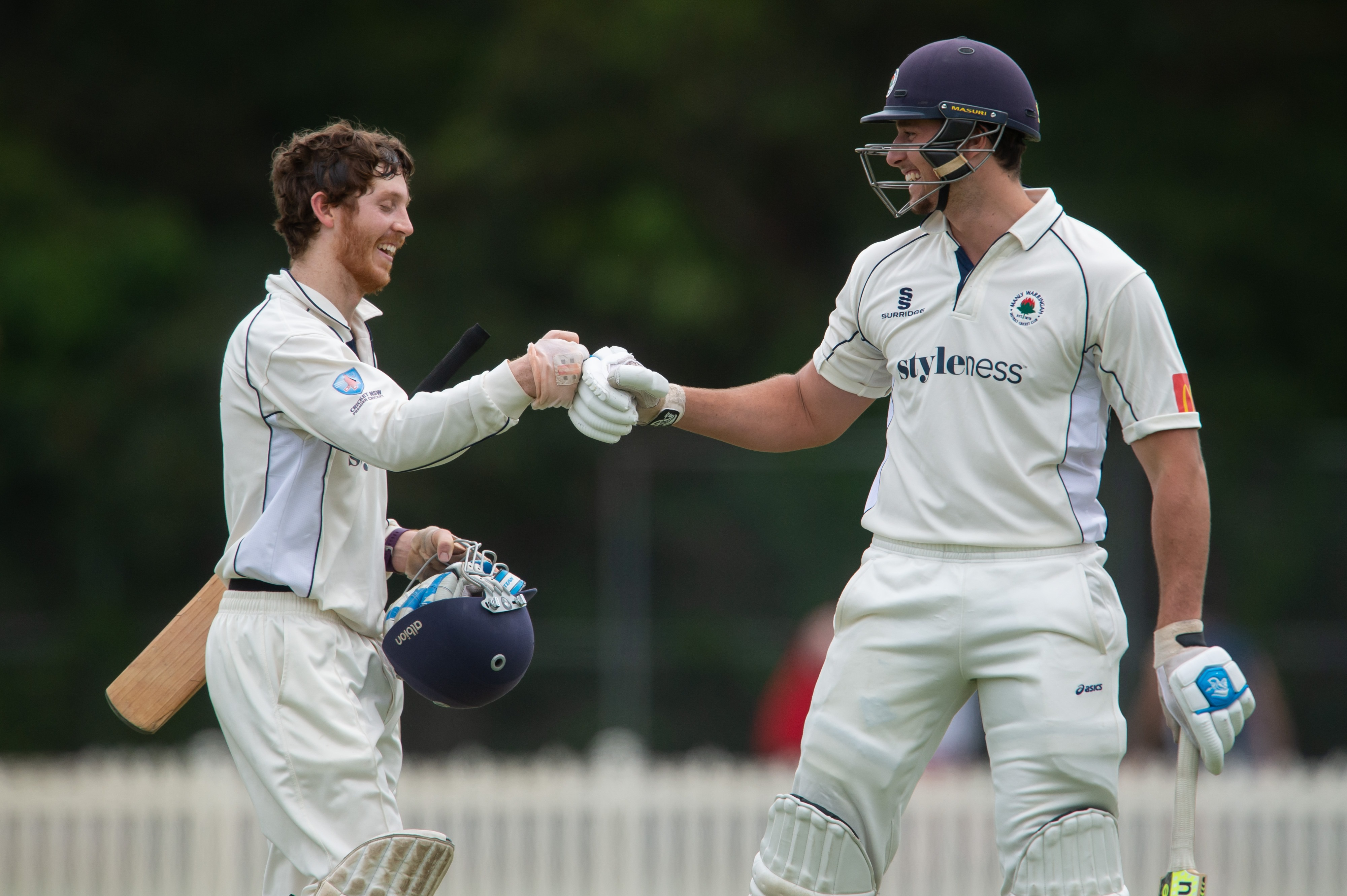 Will Akhurst after hitting his first ball for 6 to end the innings