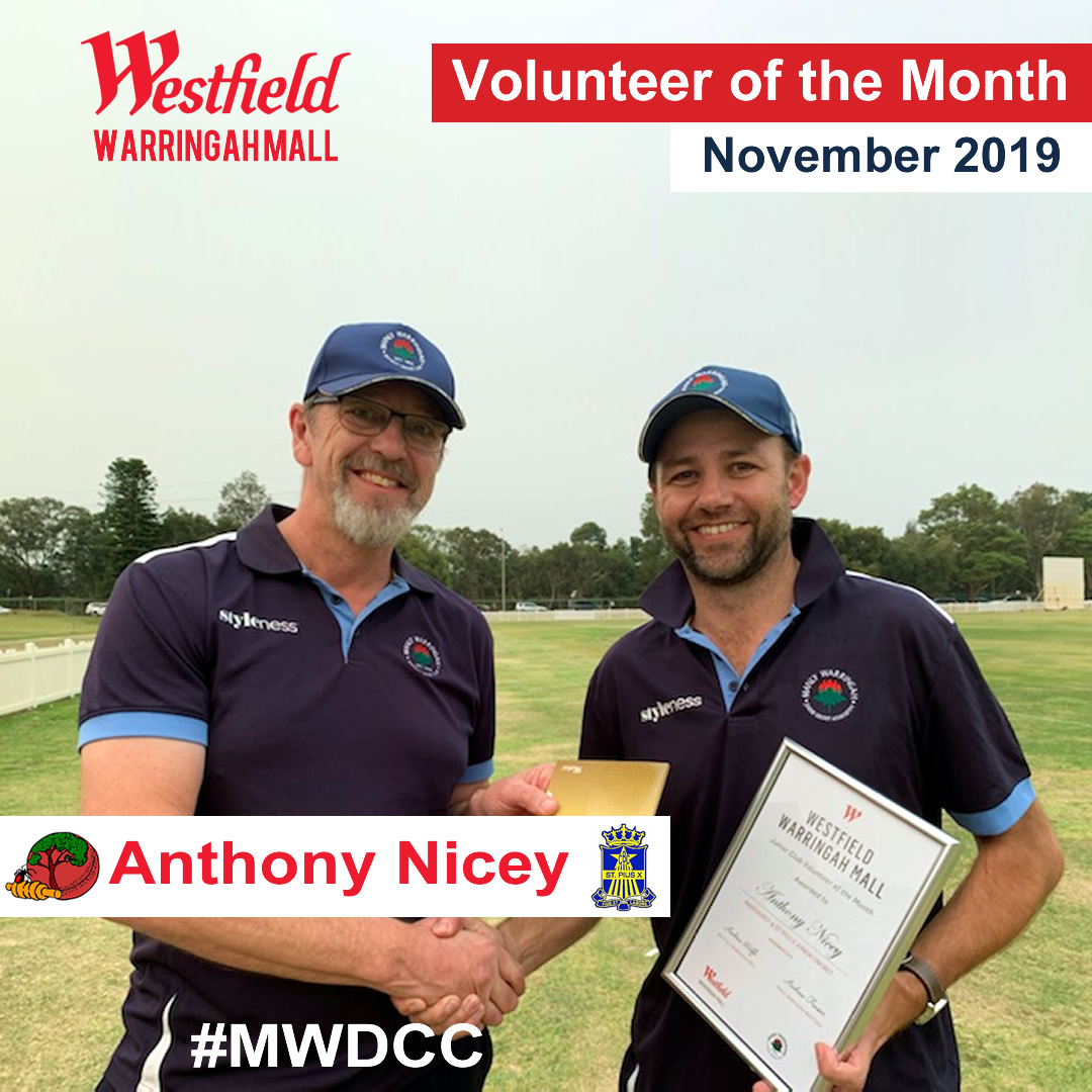 Anthony Nicey volunteer of the month.