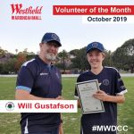 Will Gustafson receiving the volunteer of the month award sponsored by Westfield Warringah Mall.