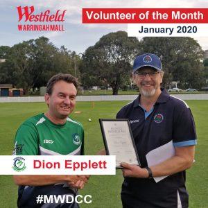 Dion Epplett junior volunteer of the month.