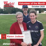 Karen Judson receiving volunteer award